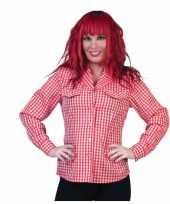 Feest geruit dames overhemd rood wit