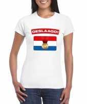 Feest geslaagd vlag t-shirt wit dames