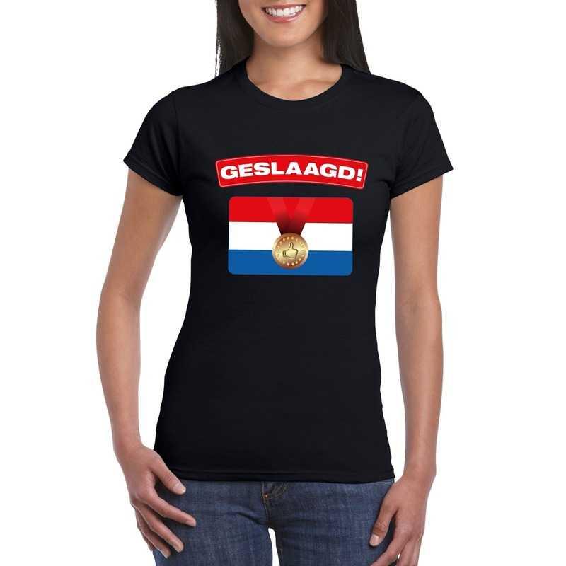 Feest geslaagd vlag t-shirt zwart dames