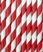 Feest gestreepte papieren rietjes rood wit 30x stuks