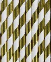Feest gestreepte rietjes van papier goud wit 30 stuks