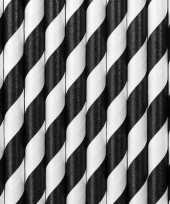Feest gestreepte rietjes van papier zwart wit 100 stuks