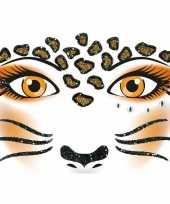 Feest gezicht stickers luipaard 1 vel