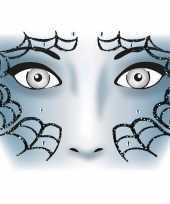 Feest gezicht stickers spinnenweb 1 vel