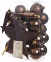 Feest glamour christmas kerstboom decoratie set bruin 33 delig