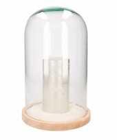 Feest glazen cloche stolp met lage zilveren led kaars 30 cm