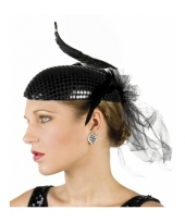 Feest glimmende zwart hoedje met veren