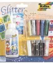 Feest glitter en confetti set met lijm 11 delig
