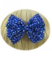 Feest glitter strik haarklem blauw