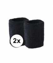 Feest goedkope zweetbandjes zwart 2 stuks
