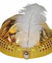Feest goud arabisch sultan hoedje met diamant en veer