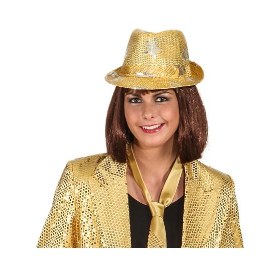 Feest goud glimmend disco hoedje met sterren