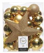 Feest goud kerstballen pakket met piek 33 stuks 33 stuks
