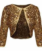 Feest gouden glitter pailletten disco bolero jasje dames