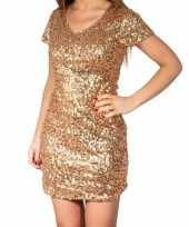 Feest gouden glitter pailletten disco jurkje dames