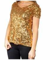 Feest gouden glitter pailletten disco shirt dames