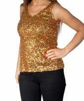 Feest gouden glitter pailletten disco topje mouwloos shirt dames