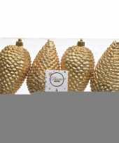 Feest gouden kerstversiering dennenappels kunststof 12 cm