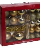 Feest gouden kerstversiering kerstballen set 48 delig kunststof