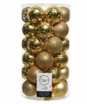 Feest gouden kerstversiering kerstballenset kunststof 6 cm 36 stuks