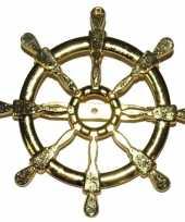 Feest gouden matroos zeeman verkleed broche scheepsroer 7 cm
