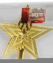 Feest gouden ster piek kerstboomversiering 21 cm