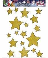 Feest gouden ster raamstickers 18 stuks