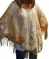 Feest gouden visnet poncho omslagdoek stola dames