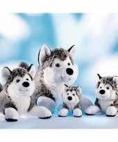 Feest grijs met witte husky knuffel 24 cm
