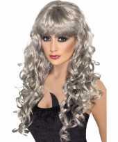 Feest grijze dames pruik lang krullend haar