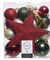 Feest groen goud rood kerstballen pakket met piek 33 stuks