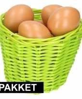 Feest groen paasmandje met eieren naturel 14 cm
