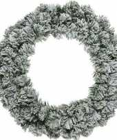 Feest groen witte kerstkrans 60 cm imperial met kunstsneeuw