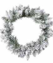 Feest groen witte kerstkrans 80 cm pencil pine met kunstsneeuw