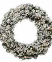 Feest groen witte led kerstkrans 50 cm imperial met kunstsneeuw