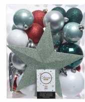 Feest groen zilver wit kerstballen pakket met piek 33 stuks