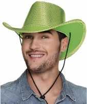 Feest groene cowboyhoed howdy pailletten voor volwassenen