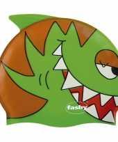 Feest groene kinder badmuts met vissen