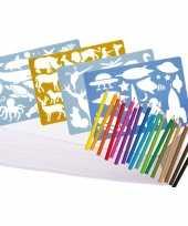 Feest groot kleurpakket met potloden en sjablonen