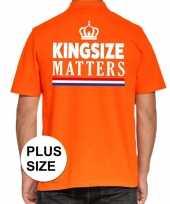 Feest grote maten kingsize matters poloshirt oranje voor heren