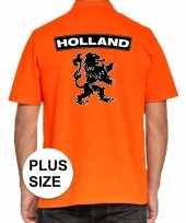 Feest grote maten koningsdag poloshirt holland met leeuw oranje heren