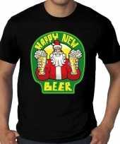 Feest grote maten nieuwjaar shirt happy new beer bier zwart heren