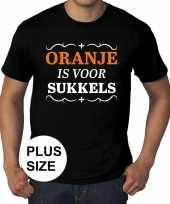 Feest grote maten oranje is voor sukkels shirt zwart heren