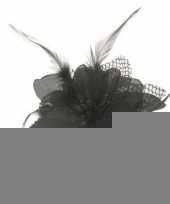 Feest haarbloem zwart met veertjes