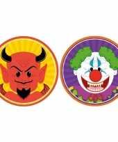 Feest halloween 20x halloween onderzetters duivel en horror clown