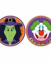 Feest halloween 20x halloween onderzetters heks en horror clown