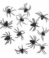 Feest halloween 24 zwarte decoratie spinnetjes 8 cm