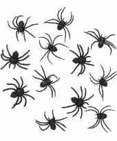 Feest halloween 36 zwarte decoratie spinnetjes 8 cm