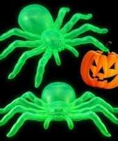 Feest halloween halloween versiering glow in the dark spinnen 14 cm 2x stuks