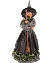 Feest halloween heks decoratie pop groen zwart 40 cm halloween versiering